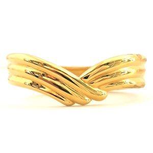 Vintage Monet Grooved Gold Tone Hinged Bracelet